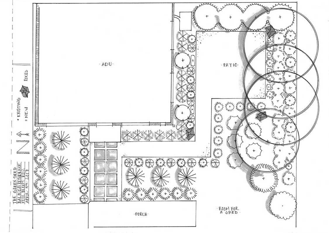 TGS Sustainable Design - Full Bloom | NE Portland, modern backyard design, heavy planting, 1/4 minus patio